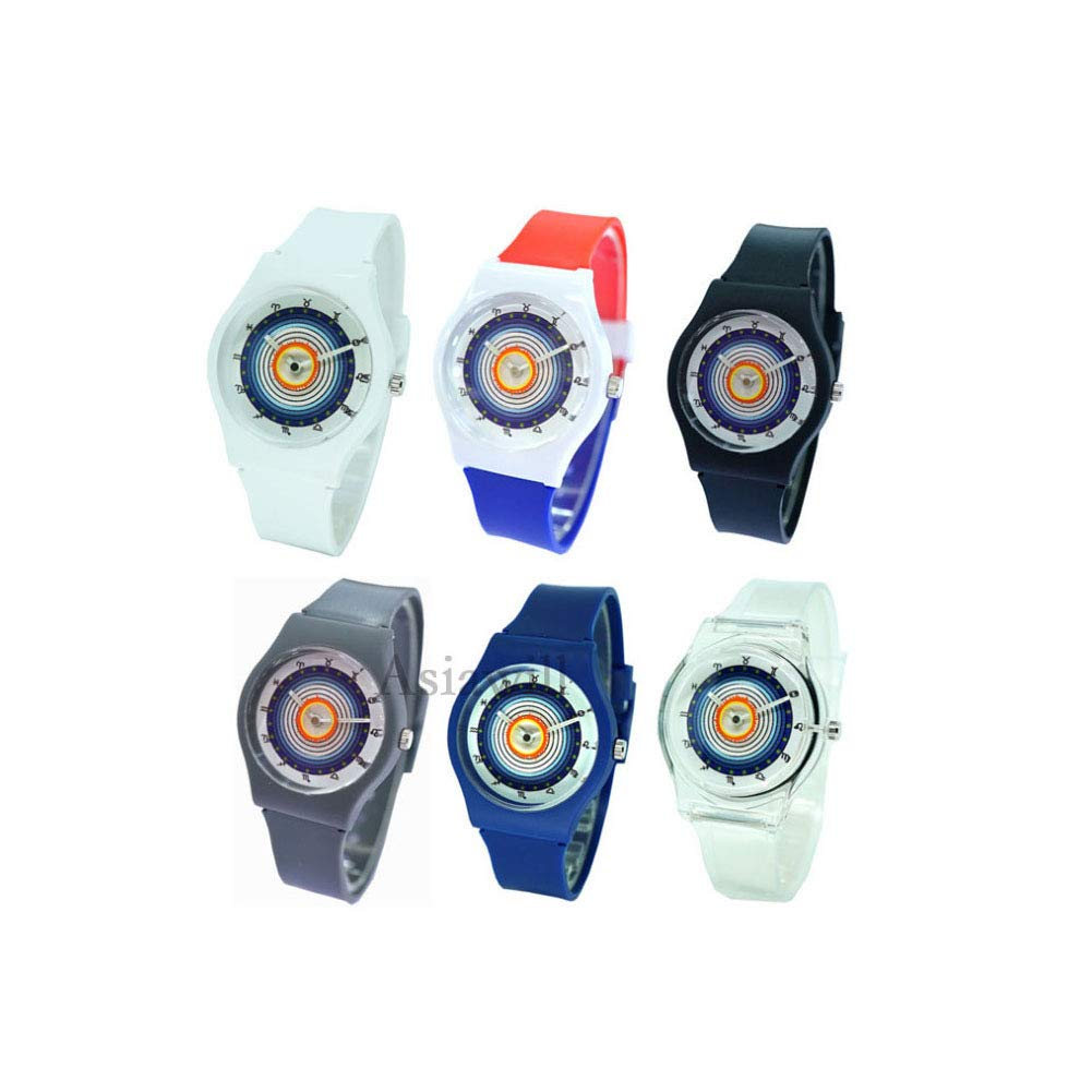 Asiawill 6 Pack Silicone Candy Jelly Unisex Student Watch Fashion Watches Analog Quartz Wrist Watch by Asiawill