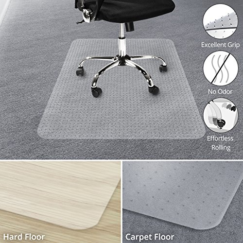 """office marshal chair mat for carpet floors, low/medium pile - 30"""" x 48"""", multiple sizes - 100% pure polycarbonate, no-recycling material - transparent, high impact strength"""