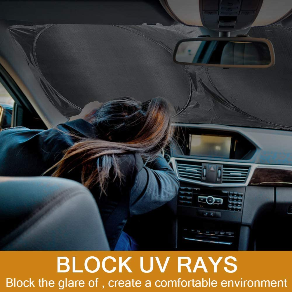 ANLIS Pare-Brise de Voiture Pare-Soleil r/étractable Garder Le v/éhicule au Frais emp/êcher la Protection Contre Les Rayons UV sadapte aux Pare-Brise Avant Argent Polyvalent