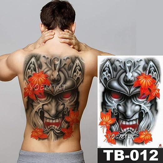 tzxdbh Big Large Back Back Pecho Etiqueta engomada del Tatuaje ...