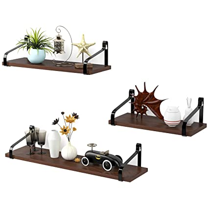 Homfa Floating Shelves Wall Mounted, Wall Storage Shelf With Wood Panel And  Iron Rack For