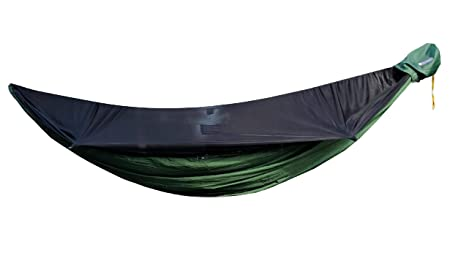 Go Camping Hammock 2.0 w Built-In Mosquito Net – Slate Gray by Go Outfitters 11 Long X 64 Wide Includes 2 Premium Aluminum Carabiners, Rapid Deployment Bag, 4 Stakes 4 Shock Cords