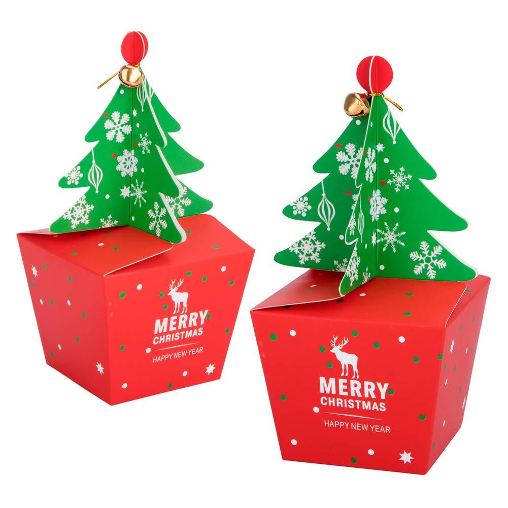 Scatole regalo Natale 20 Pcs con 20 Pcs Bow e 20 Pcs Campane, Confezioni Regalo dolcetti, biscotti, dolci, caramelle e saponi fatti in casa scatole regalo per Baby Shower, Natale, compleanni, vacanze, lauree, matrimoni scatole regalo, Decorative Per il Nat