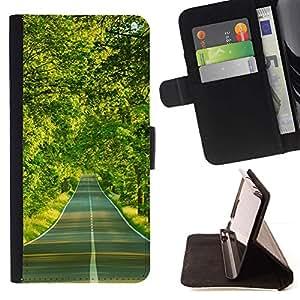 For Huawei Ascend P8 (Not for P8 Lite) Case , Camino forestal- la tarjeta de Crédito Slots PU Funda de cuero Monedero caso cubierta de piel