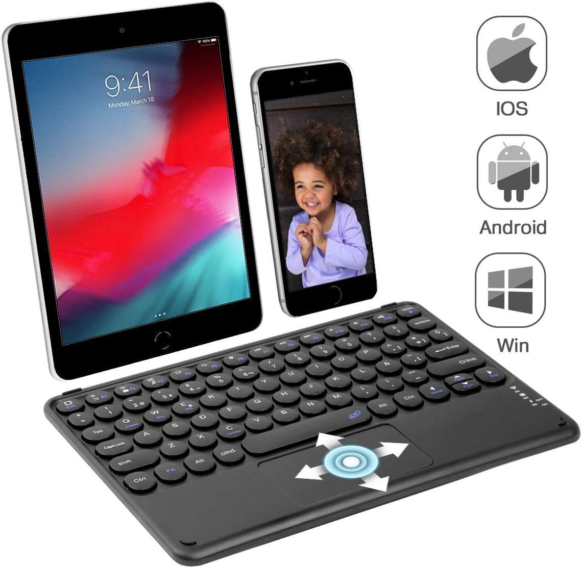 KOOCHUWAH Teclado Bluetooth con Touchpad QWERTY Español para Cualquier Sistemas Operativos iOS Android Windows, Compatible con iPad Galaxy Tab Tablets ...