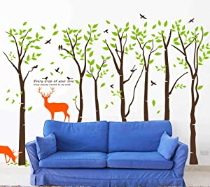 Mix Decor Tree Wall Decal - 7 Trees Wall Sticker Large Family Forest for Livingroom Kid Baby Nursery Room Deer Wooland Decoration Party Birthday Gift,118x83 Inch Coffee + Green