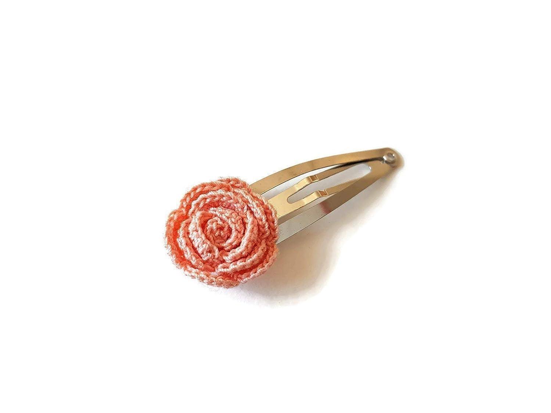 Pfirsich Haarspange rosa Rose handgemachte Hä keln Haarschmuck Geschenk fü r ihre Blume Natur