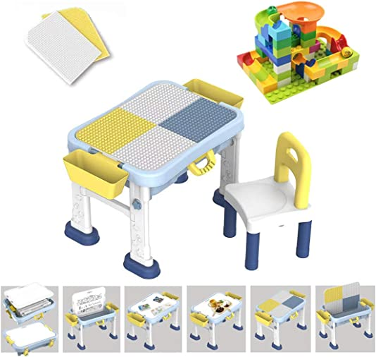 diynshop BuildIing Blocks Table-Kids Activity Table-with 55pcs Building Blocks and One Chair-Kids Activity Play Table-Compatible Lego Classic Duplo Building Blocks 6