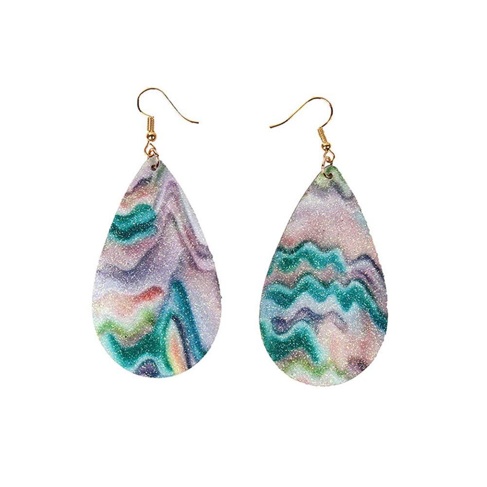 Purple Fashion Faux Leather Glitter Rainbow Water Drop Dangle Hook Earrings Jewelry
