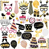 Unomor Birthday Photo Booth Props, Bronzing Funny Birthday Party Decorations Favors Supplies Photobooth Props Kit 48Pcs/Pack