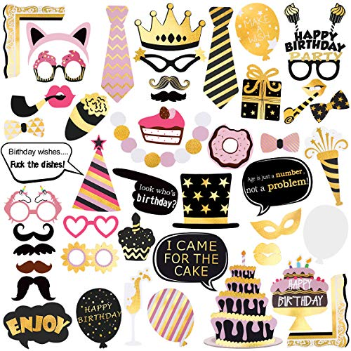 Unomor Birthday Photo Booth Props, Bronzing Rose Gold and Black Funny Happy Birthday Party Favors Supplies Photobooth Props Kit 48Pcs/Pack