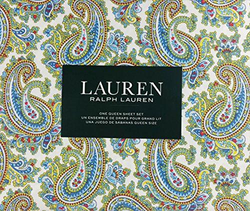Lauren Ralph Lauren Sheet Set Cotton Blue Red Yellow Paisley Floral Pattern on White Background (Queen) (Ralph Lauren Bedding Queen)