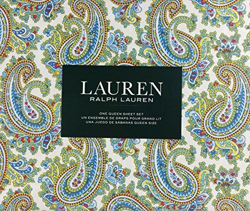 Lauren Ralph Lauren Sheet Set Cotton Blue Red Yellow Paisley Floral Pattern on White Background (Queen)