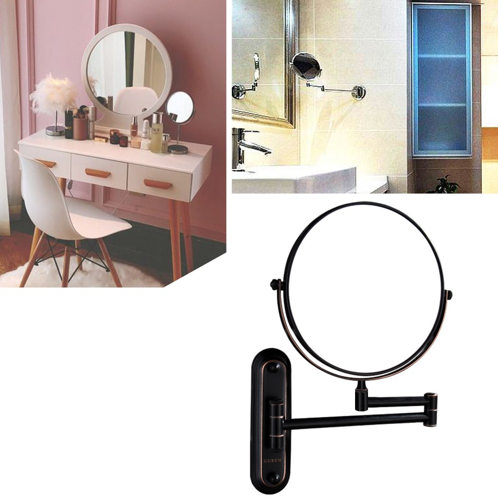 Gecious Wall Mount Vanity Makeup Magnifying Mirror,Black,1x/10x magnification,360°Swivel 12'' Extension Two-Side Retractable Oil Rubbed Finish,8-Inch by Gecious (Image #9)
