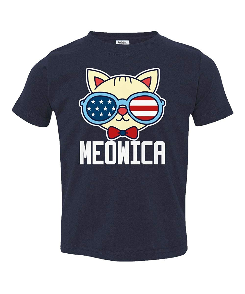 Societee Cat Meowica American Flag Glasses Little Kids Girls Boys Toddler T-Shirt