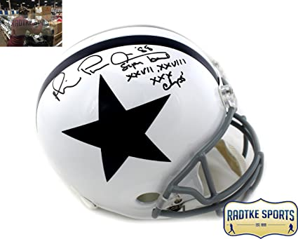 1ab817ad4ea Michael Irvin Autographed/Signed Dallas Cowboys Riddell Full Size White  Throwback NFL Helmet with ""