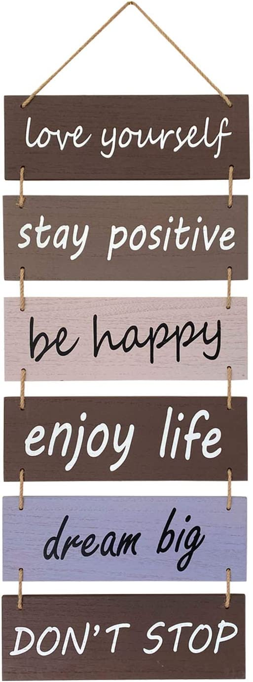 V Quality Home Decor - Motivational and Uplifting Rustic Farmhouse Wood Wall Hanging Decor Art Pediment : Love Yourself-Stay Positive-Be Happy-Enjoy Life-Dream Big-Don't Stop (Brown/Gray/White)