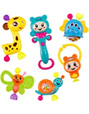 Kids Baby Rattles,1 Set Newborn Baby Rattles Shaking Bell Bright Color Grab Music Toys Teether for Infant Early Education for Children's Day,Christmas,Halloween,Thanksgiving & New Years