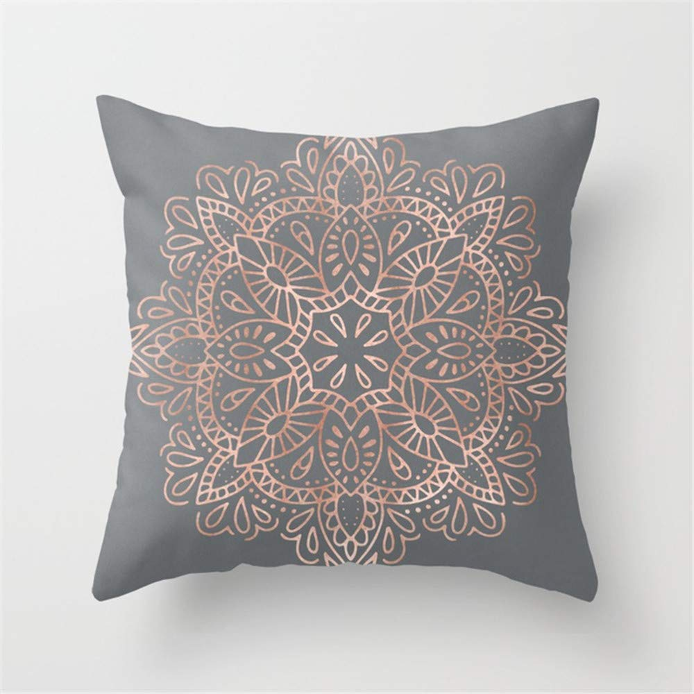 Huisfa Mandala Rose Gold Pink Shimmer on Soft Gray by Nature Magick Pillow Cushion Cover Case 18 X 18 inches