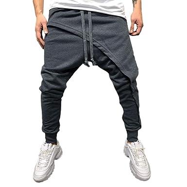 Pantalon de Sport Grande Taille - Sunenjoy Pantalon avec Poches Jogging Bas  de Survêtement Élastique Sarouel ce6b41a65ebf