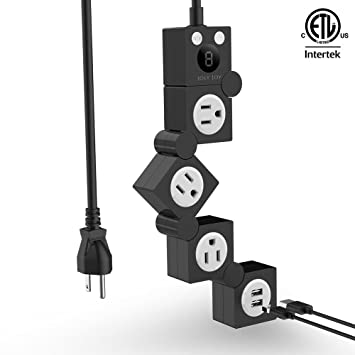 ETL Certified Flexible Rotating Power Strip Surge Protector With Timer and 2 USB & 3 Pivot