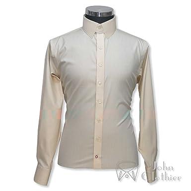 d6ba665c8607d WhitePilotShirts Mens Tab Collar Fawn Melange Shirt 100% Cotton Long ...