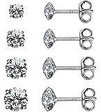 Sterling Silver Studs Earrings, 3-6 Pairs, Round Clear Cubic Zirconia Stud Earrings for Sensitive Ears priercing …