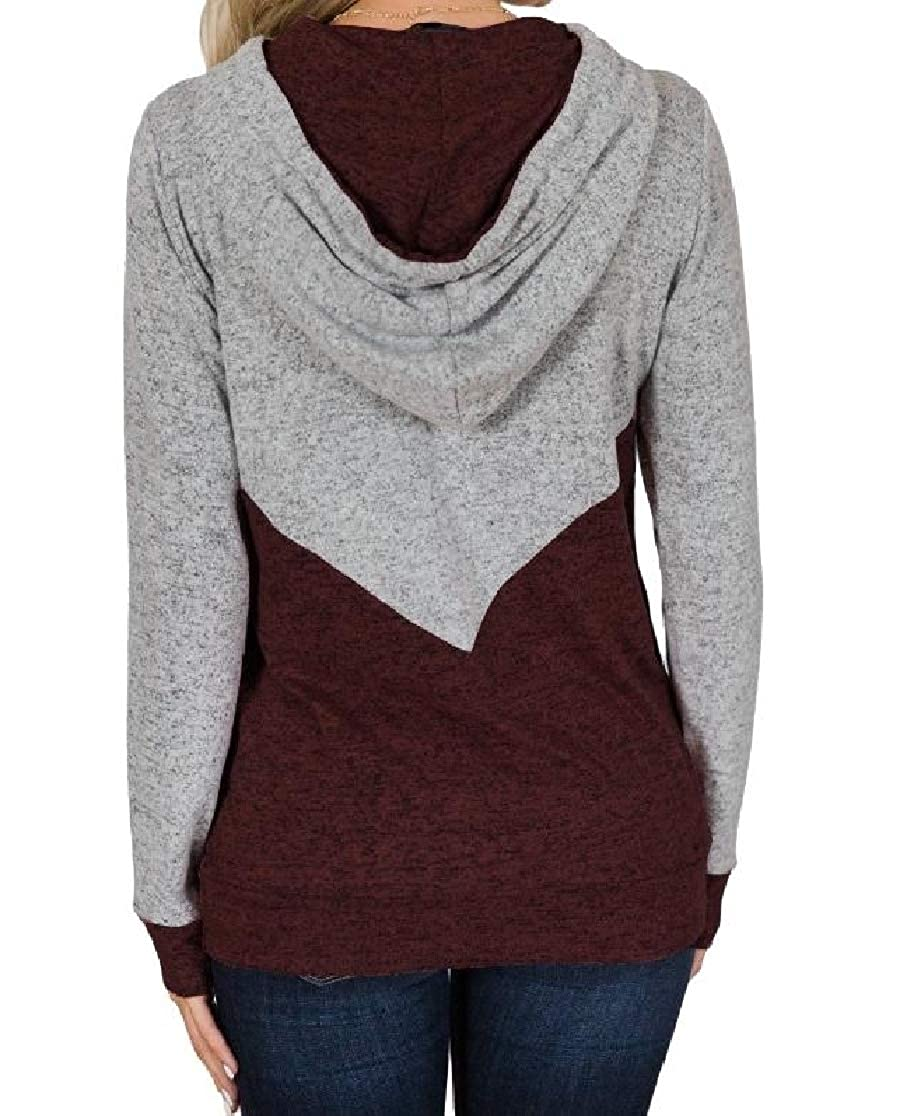 Comaba Women Running Splice Relaxed Weekend Pocket Hood Sweatshirt
