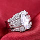 Women 925 Silver Marquise Cut White Sapphire Gorgeous Wedding 3pc Ring Size 6-10 (10)