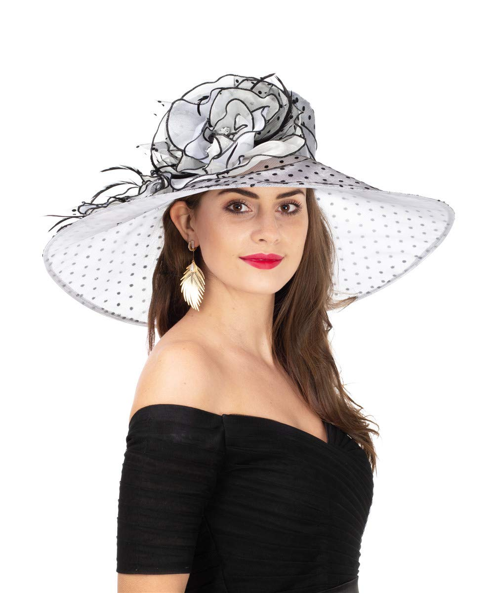 SAFERIN Women's Organza Church Kentucky Derby Fascinator Bridal Tea Party Wedding Hat (SF-Wide Brim Grey/Black- Black Dot)