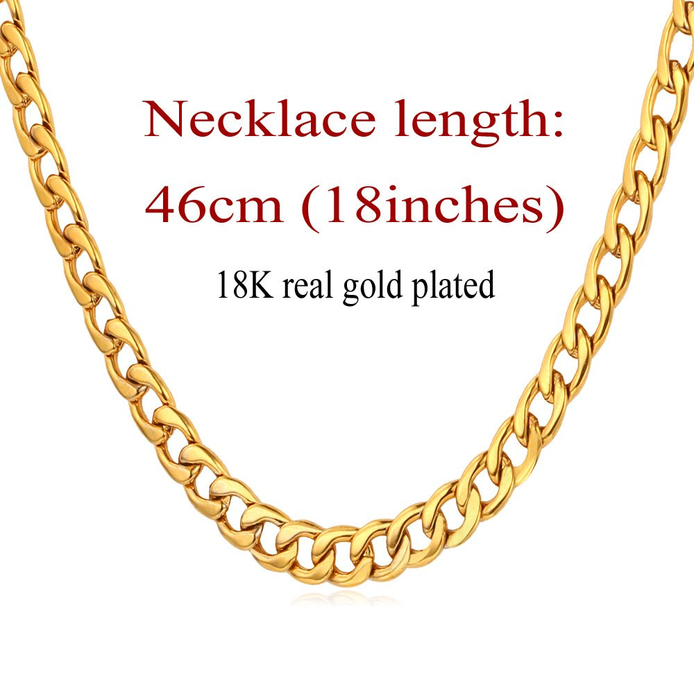 U7 Stainless Steel Curb Chain Necklace 5MM 18-30