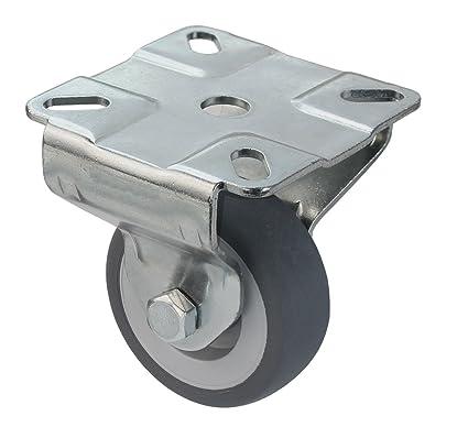 Ruedas para aparatos y muebles, sin freno, 50 mm, de goma gris,