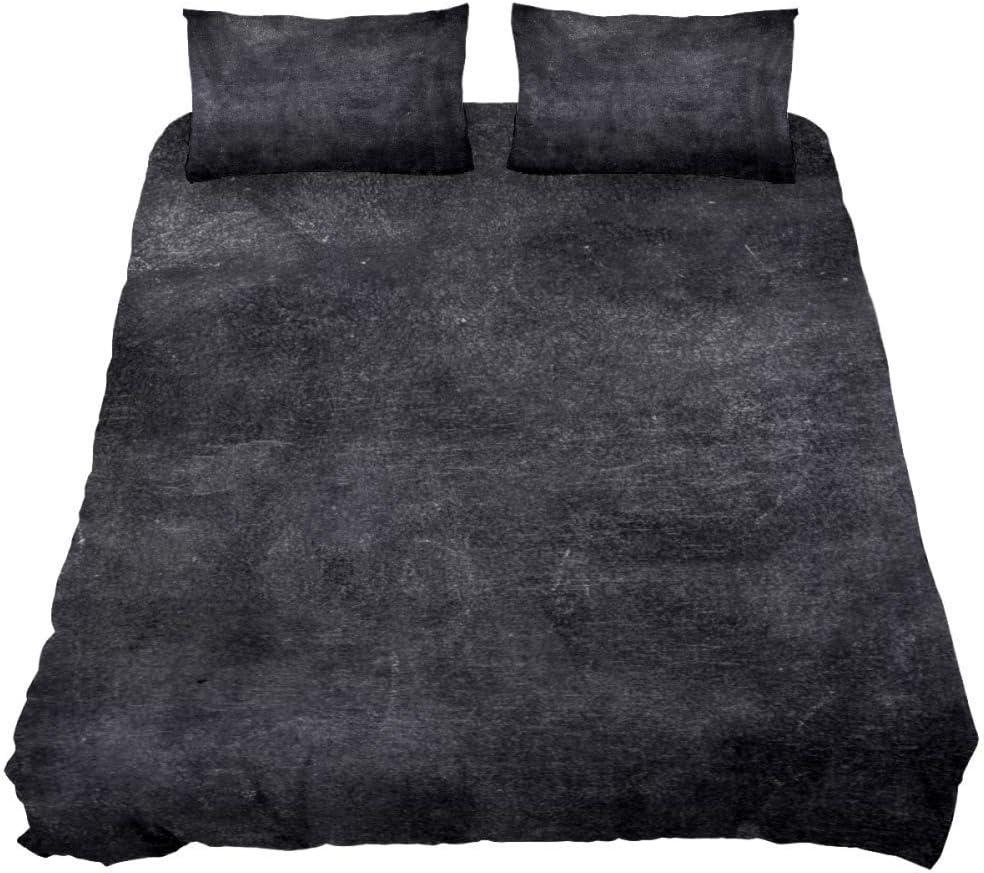 TIZORAX Real Chalkboard Comforter Set and Decorative Pillows Shams, Queen, All-Season Bedspread Three-Piece Bedding