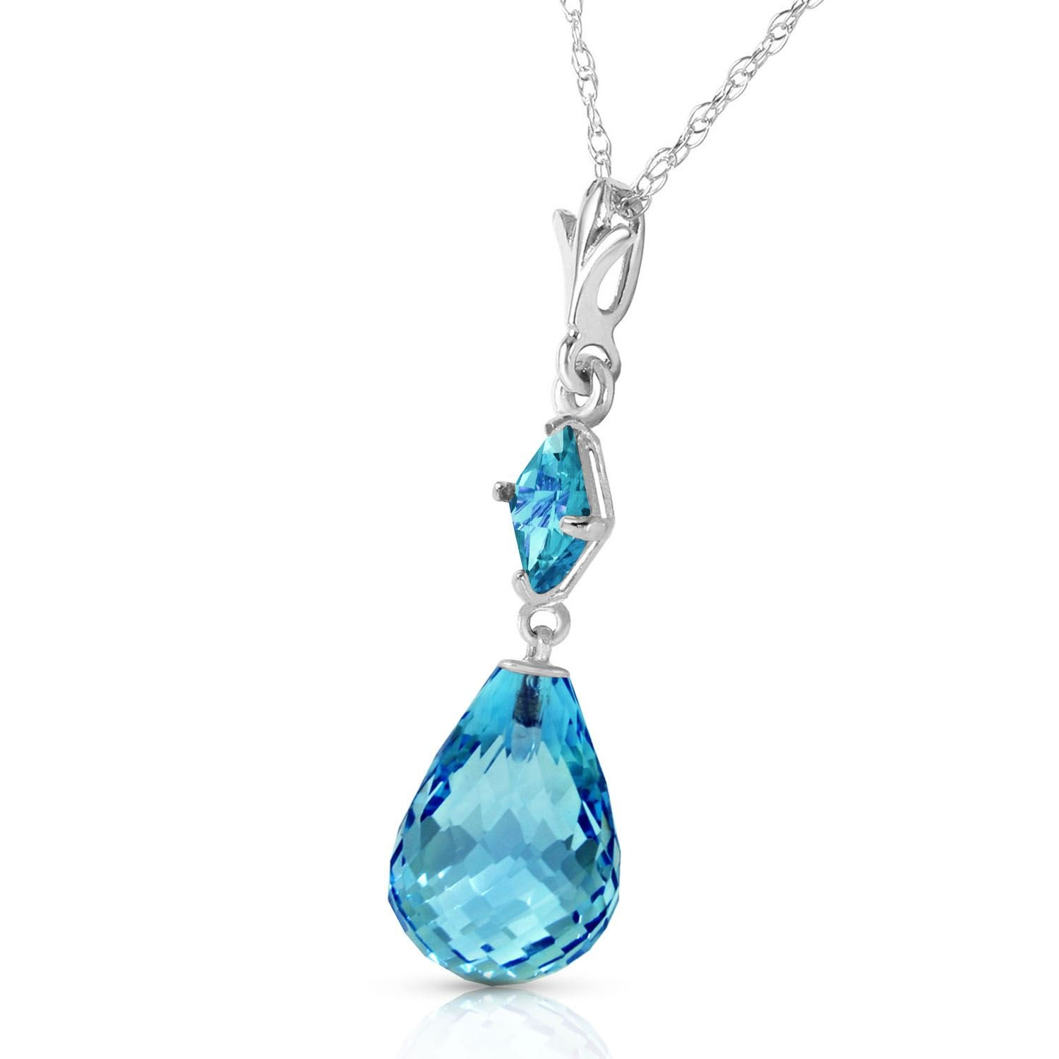 ALARRI 5.5 Carat 14K Solid White Gold Today We Laugh Blue Topaz Necklace with 20 Inch Chain Length