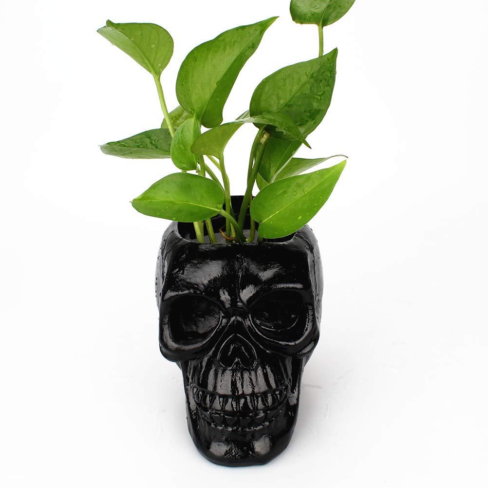 OUNONA Skull testa ornamento scheletro cancelleria portapenne resina vaso decorazione fioriera desktop