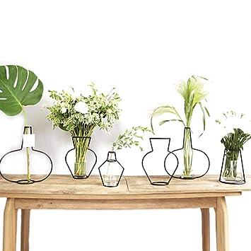 ZONYEO Minimalist Metall Vase Typ D Schwarz
