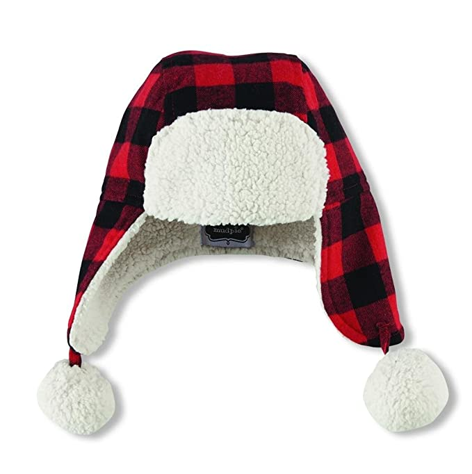 96ab1a1501a2e9 Mud Pie Boys Buffalo Check Flannel Hat Sherpa Lining and Accents,Red,2T/