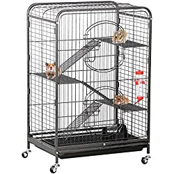 Yaheetech 37'' Metal Ferret Cage Indoor Small Animals Hutch w/Feeder and Wheels Black