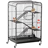 Yaheetech 37'' Ferret Cage 4 Levels Portable Indoor Small Animals Hutch Plastic Shelves,Ramps 2 Front Doors