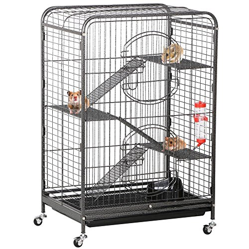 Yaheetech 37'' Metal Ferret Cage Indoor Small Animals Hutch w/ 2 Front Doors and Feeder and Wheels Black