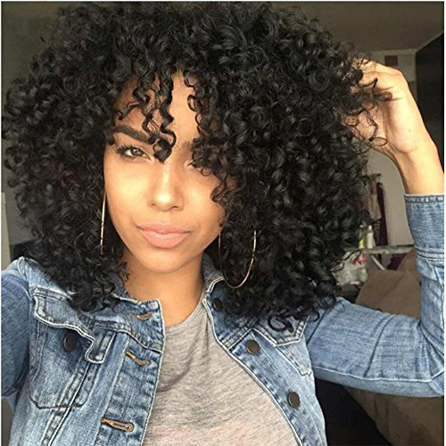 TINY LANA Afro Hair Wigs Short Kinky Curly Synthetic Full Wigs for Black Women Jet - Wigs Tiny