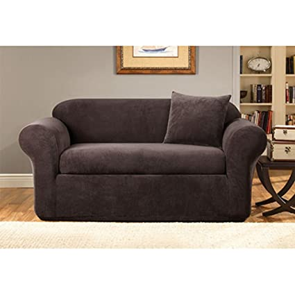Gentil Sure Fit Stretch Metro 2 Piece   Sofa Slipcover   Espresso (SF39419)