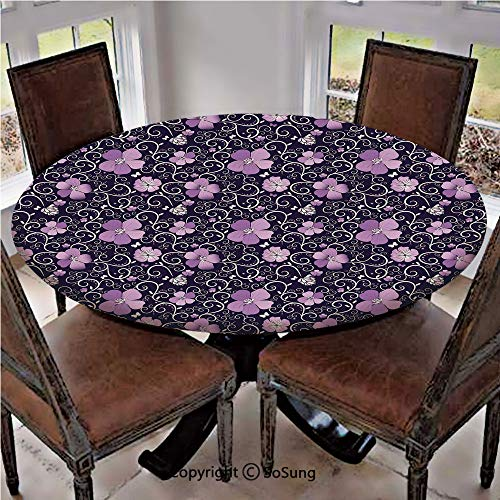 Elastic Edged Polyester Fitted Table Cover,Butterfly Silhouettes with Plant Flower Patterned Design Swirls Curves Decorative,Fits up 40