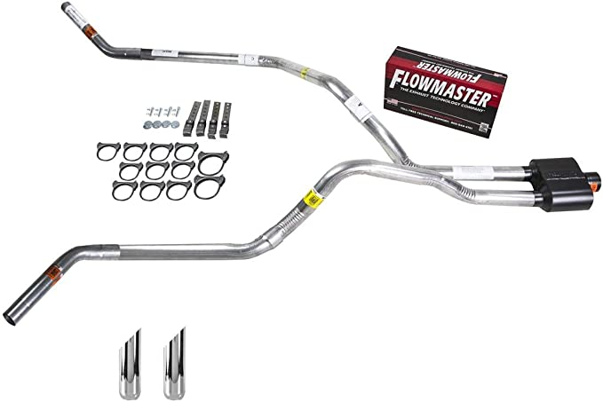 Truck Exhaust Kits DIY dual exhaust system 2.25 MA pipe Flowmaster 50 SW Tip Corner exit