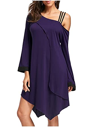 5488e366ee91 YUSKY Womens Long Sleeve Baggy Unique Hem Line One Shoulder Dresses Purple S