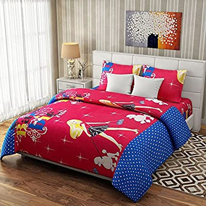 Shree Fashion Hub 100% Cotton Theme Printed Double Bedsheet With 2 Pillow Covers