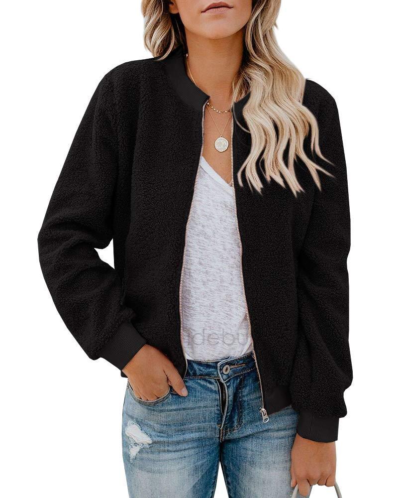 Rvshilfy Women Fleece Fuzzy Jacket Long Sleeve Faux Sherpa Casual Zip Up Bomber Coat Pocket (Medium, Black) by Rvshilfy