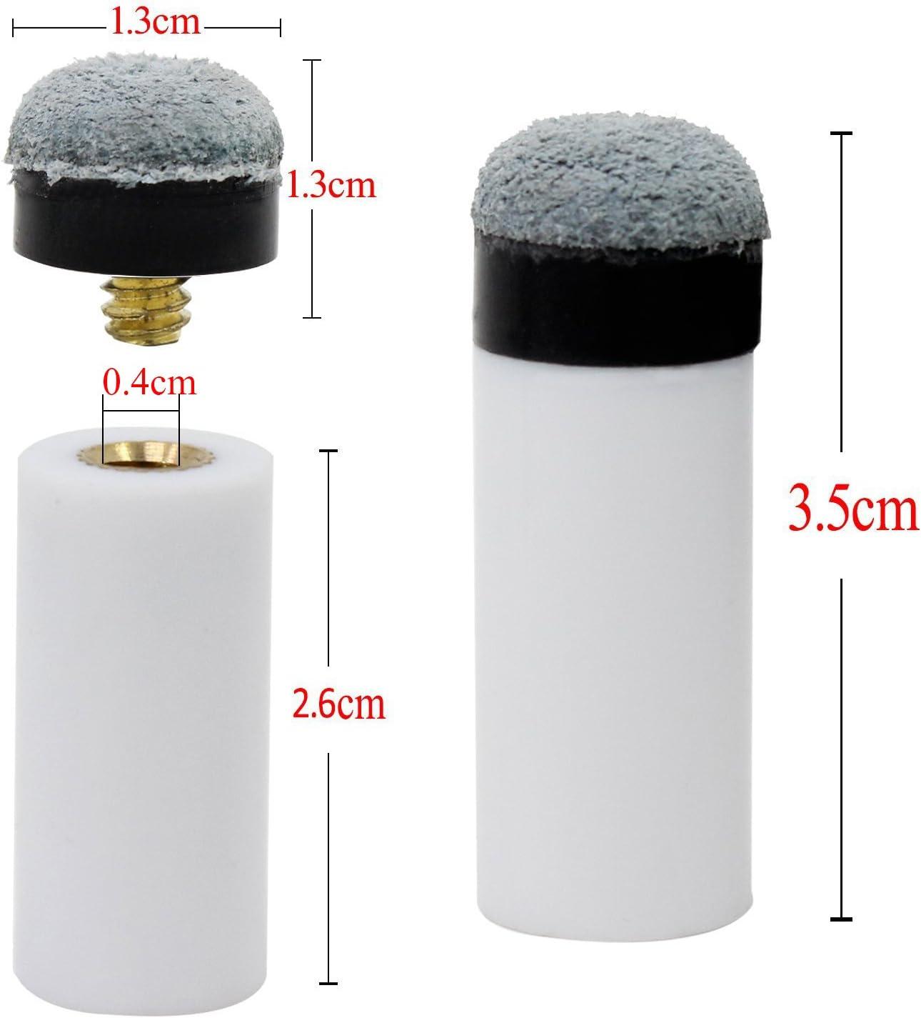 Keesin 3/mm Coperchio grigio Cue Billiard punte di ricambio a vite con puntali stecca Pool 10/confezione