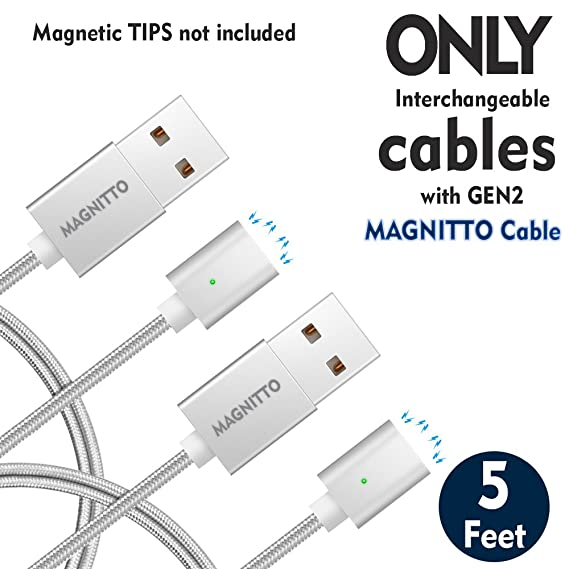 Magnetic USB Cables MAGNITTO interchangeable with 3 in 1 sets for USB to Lightning+USB
