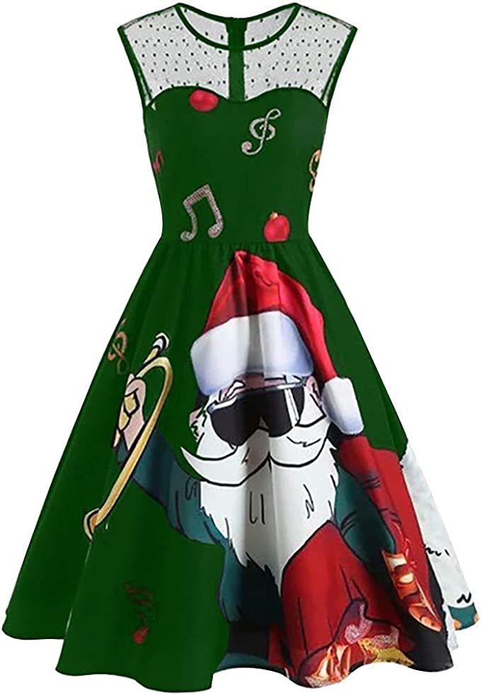 Weihnachtsdruck Party Kleid Karneval Kost/üm Kleid Damen Vintage Weihnachtsfeier Swing Kleid Club Holiday Karneval Kleid Vintage Cocktail Party Kleid